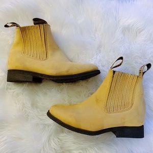 El Prieto Yellow Tan Slip On Boots Booties Size 5